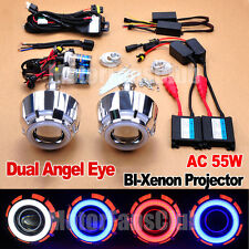 "2.5"" HID BI-Xenon Projector Lens Kit Headlights LED Dual Angel Eyes Halo AC 55W"