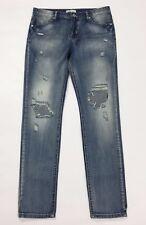 Miss two 2 jeans donna strappi slim M w28 tg 42 destroyed usati denim blu T2341