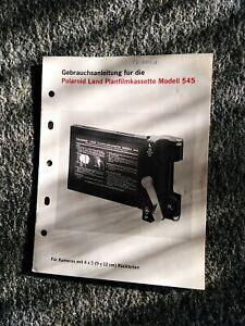 Gebrauchsanweisung Polaroid Planfilmkassette 545 Großformat   Selten / Rare