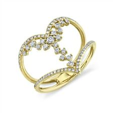 Gold Round Statement Right Hand Womens Floating Diamond Heart Ring 14K Yellow