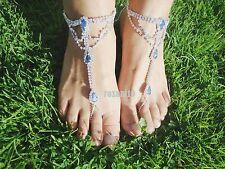 Something Blue - Clear Crystal Barefoot Sandals Beach-Wedding Bridal Bridesmaid