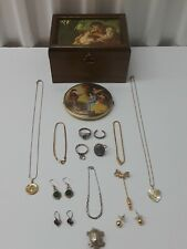 Vintage Mixed Lot / Sterling Silver Jewelry. Mirror Top Music Box.& Other. No- R