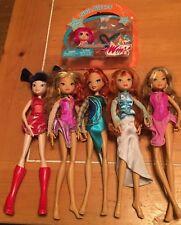 Winx Club Lot Of 6 Dolls Loose NIP Pixie Kisses Kickette Bloom Flora Musa