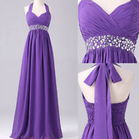 Maternity Long Purple Evening Ball Gown Formal Party Prom Bridesmaid Dress UK 6+