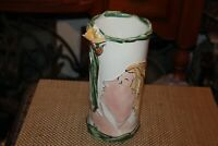 Original Gerry Wallace Signed Art Pottery Vase Woman Smelling Flowers
