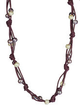 """Leather Cord Cultured Freshwater Pearl Necklace, 19"""""""