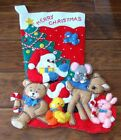 Vintage Felt Sequins Finished Jumbo Christmas Stocking Santa & Animals