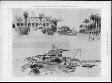 1898 Antique Print SPANISH AMERICAN WAR Cuba Havana Governor General Palace (111