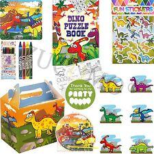Childrens riempito PARTY CIBO scatole Ragazzi Ragazze Dinosauro Festa Borse & Stucchi