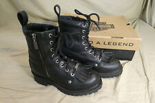 Harley Davidson Black Leather Logger Zip Boots #82041 - Women's Size 8 M in Box