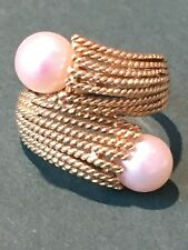 Beautiful 18k Tiffany Schlumberger style bypass pearl ring