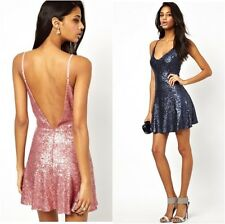 True Decadence Sequin Low Back Cami Slip Party Dress Pink UK Size 12