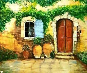 """ Tuscany Cottage "" Original Painting- De Martino Art"