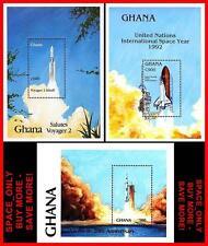 Ghana = Usa Space Programs: Apollo 11, etc. x3 S/S (blocks) Mnh