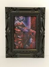 Epicurean - Original 4x6 Framed Oil Painting of a Vampire Woman