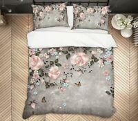 3D Pink Rose ZHUA1473 Bed Pillowcases Quilt Duvet Cover Set Queen King Zoe