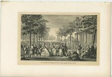 ANTIQUE PARK PICNIC VERSAILLES COSTUME WALK TO THE WALLS OF PARIS TREE OLD PRINT
