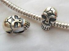 925 Sterling Silver Skull Bead Charm Uni Sex Gift Idea Pendant