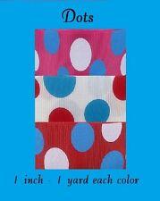 6 yards- 1 inch Dots Grosgrain Ribbon - 2 yard each color