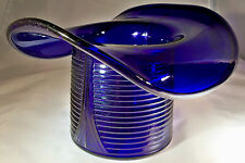 "CAMBRIDGE GLASS CO. COBALT ROYAL BLUE #1402 10"" DIAMETER LARGE NOVELTY HAT VASE!"