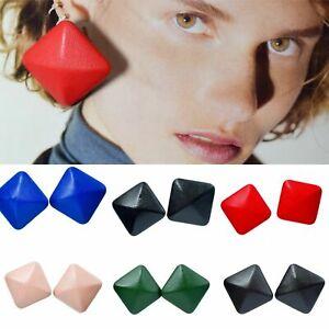 Large Square Chunky Style Faux Leather Earrings Ear Studs Colour Geometric Boho