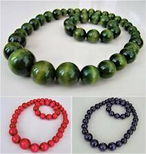 Chunky Solid Wooden Beaded Necklace Bracelet Handmade/trendy colors