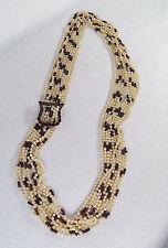 Antique Multi Strand Pearl Garnet Silver Buckle Necklace