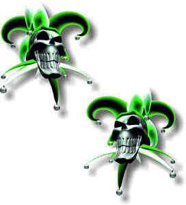Vinyl sticker/decal Extra small 50mm Jester smiling skull Green   - pair