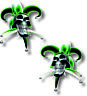 Vinyl sticker/decal Extra small 50mm Jester smiling skull Green   - pair