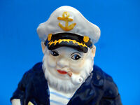 Cookie Jar -  SHIP'S CAPTAIN at the HELM w/ ANCHOR 2005 Ceramic Hand Painted NIB