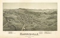 """16"""" x 24"""" 1899 Map Of Harrisville Ritchie County West Virginia"""