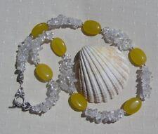 "Clear Quartz & Yellow Jade Crystal Gemstone Chunky Statement Necklace ""Daisy"""