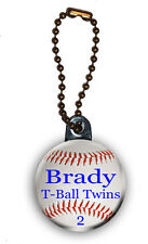 Baseball Zipper Pull/Bag Tag Personalized with Name, Number, Team 1.5 Inch Charm