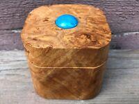 Nice Burled Wood Trinket Box w Turquoise or Lapis Stone Cabochon on Lid