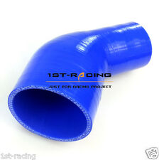 """6649 Silicone Hose 45 Degree elbow reducer 4"""" to 3.5"""" ,4 to 3.5 inch blue"""