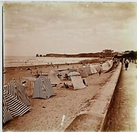 Spiaggia Litoranea Mer Foto Stereo PL59L11n Placca Da Lente Vintage