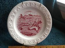 Staffordshire Alphabet ABC Plate Man fell off horse