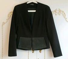 Topshop Black Tuxedo Cropped Short Blazer Jacket Size UK 12