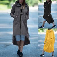 ZANZEA Women Hooded Trench Coats High Low Casual Thin Outwear Jackets Hoodies