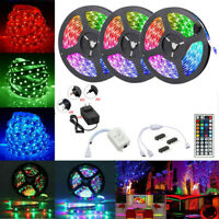 15M 49.2Ft RGB 3528 SMD LED Strip Light Flexible Color Dimmable 12V Remote Power