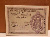 Algeria Tunisia 20 Francs  15-1-1943 P17-  AU