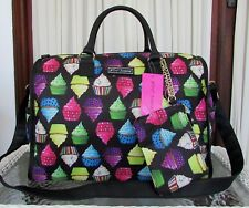 Betsey Johnson Kitsch Cupcake Weekender Travel Duffle Bag & Wristlet Pouch NWT