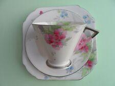 """A rare Shelley Art Deco """" Pink & Blue flowers"""" 12280 Eve shape tea trio. C.1934."""