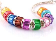 HOT 10pcs Mix SILVER MURANO bead LAMPWORK fit European Charm Bracelet DIY #D912