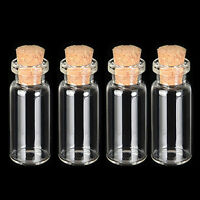 4PCS 10ML Clear Mini Cork Stopper Glass Vial Jars Containers Bottle-Bulk