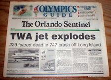 1996 headline newspaper TWA 747 airliner Flight 800 explodes over Long Island NY