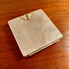 New listing Wab Art Deco Sterling Silver & Solid 14K Gold Sapphire Compact - No Monogram
