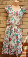 COLLECTION LONDON WHITE PINK GREEN FLORAL CHIFFON BELTED A LINE FLIPPY DRESS 10