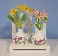 Hand crafted decorative miniature porcelain vases clay flowers fence stand m3