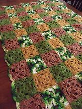 "Vintage Afghan GRANNY SQUARE Handmade Crochet Quilt Throw Blanket 51""x33"" 1970's"
